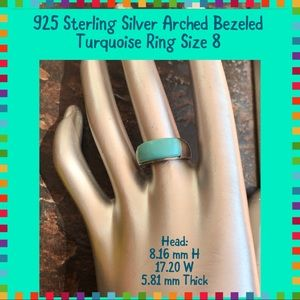 925 Sterling Silver Arched Turquoise Ring 8